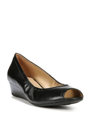 Contrast Leather Wedge Peep Toe Pumps by Naturalizer
