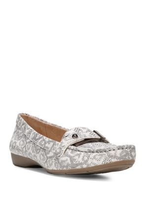 Gisella Reptilian Print Leather Loafers by Naturalizer