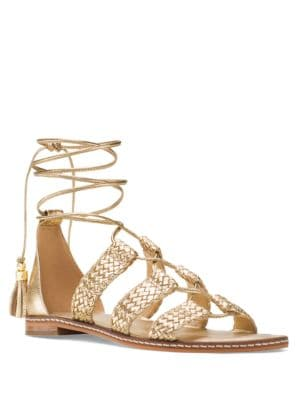 Monterey Leather Gladiator Lace-Up Sandals by MICHAEL MICHAEL KORS