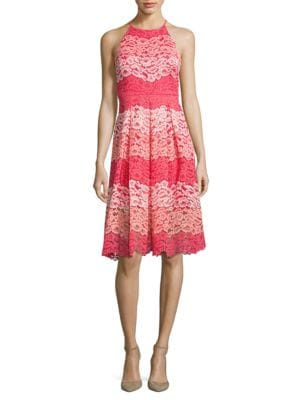 Halter Lace Dress by Belle Badgley Mischka