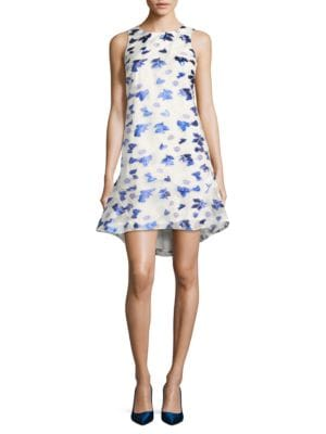 Ruffle Asymmetric Printed Dress by Belle Badgley Mischka