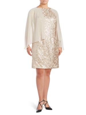 Embellished Cape Shift Dress by Alex Evenings