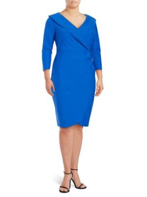 Embellished Surplice Sheath Dress by Alex Evenings