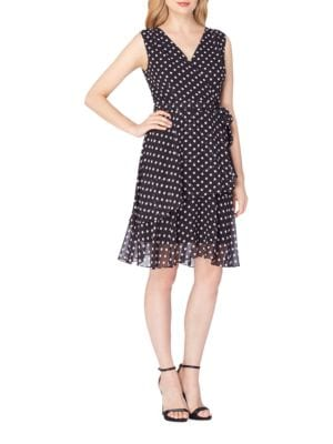 Dot Printed Tiered Dress by Tahari Arthur S. Levine