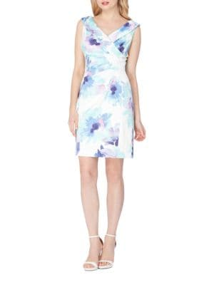Satin Floral Print Sheath Dress by Tahari Arthur S. Levine