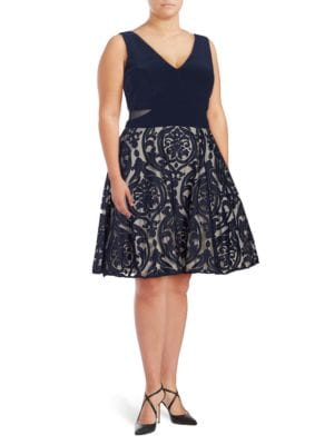 Patterned Fit-and-Flare Dress by Xscape