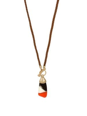 Primal Connection Colorblock Sculptural Pendant Long Braided Necklace 500086913686