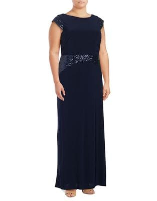 Plus Sequined Knit Gown by Betsy & Adam
