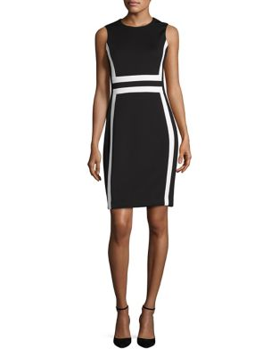 Colorblock Sleeveless Sheath Dress by Calvin Klein