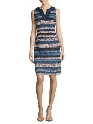Striped Lace Sheath Dress by Karl Lagerfeld Paris