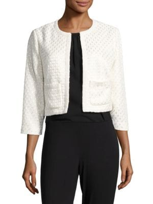 Open Front Textured Jacket by Karl Lagerfeld Paris
