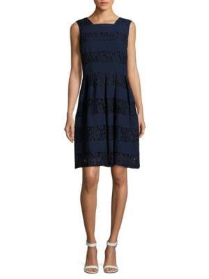 Floral-Lace A-Line Dress by Karl Lagerfeld Paris