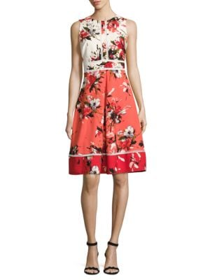 Colorblocked Floral Dress by Karl Lagerfeld Paris