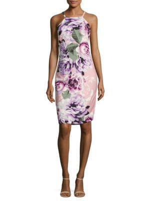 Rose-Print Halterneck Dress by Vince Camuto Plus