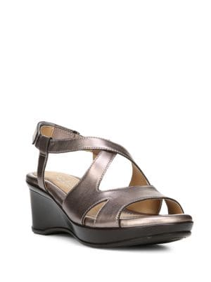 Villette Crisscross Leather Wedge Sandals by Naturalizer