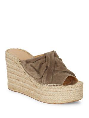 Aida Suede Espadrille Platform Wedge Sandals by Marc Fisher LTD