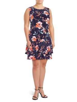 Plus Belted Floral Dress by Ivanka Trump