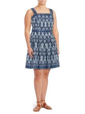 Plus Medallion-Print Sleeveless Dress by Ivanka Trump