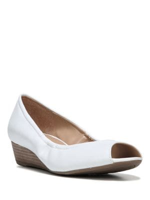 Buy Contrast Leather Wedge Pumps by Naturalizer online