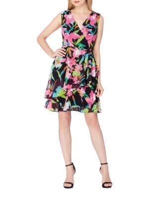 Plus Chiffon Floral Faux-Wrap Dress by Tahari Arthur S. Levine