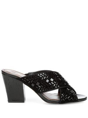 Gillian Leather Block Heel Slide Sandals by Donald J Pliner