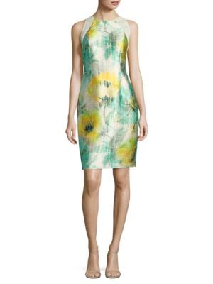 Photo of Carmen Marc Valvo Floral-Print Satin Twill Sheath Dress