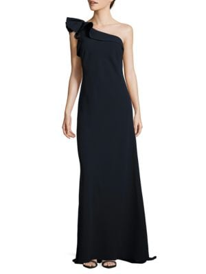 One-Shoulder Crepe Ruffled Gown by Carmen Carmen Marc Valvo