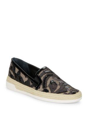 Pamela Sequined Espadrille Slip-On Sneakers by Donald J Pliner