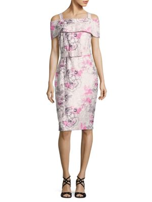 Floral Printed Sheath Off-The-Shoulder Dress by Badgley Mischka