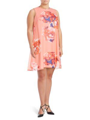 Sleeveless Floral Swing Dress by Calvin Klein Plus