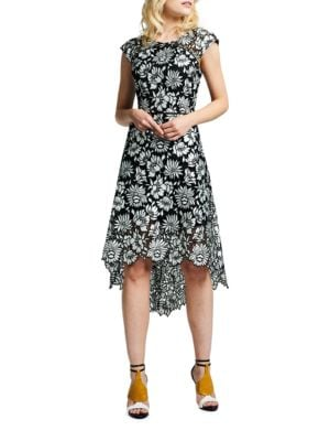 Floral Pattern Asymmetric Dress by Kay Unger
