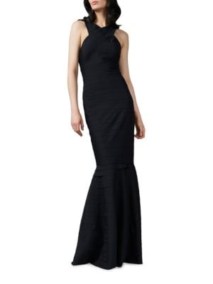 Halter Neck Textured Gown by Kay Unger