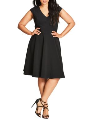Plus Solid V-Neck Dress by City Chic