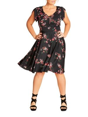Plus Delicate Flower Printed Dress by City Chic