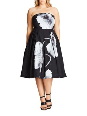 Mono Bloom Strapless Dress by City Chic