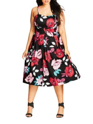 Floral-Print Pleated Dress by City Chic