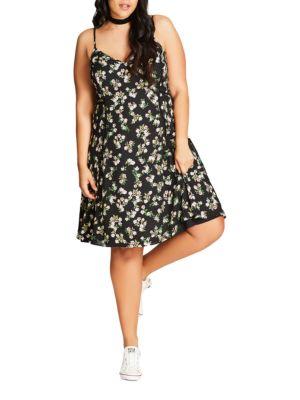 Plus Pretty Ditzy Pretty Daisy Dress by City Chic