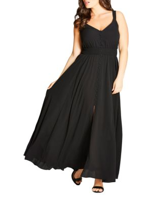 Plus Button Through Maxi Dress by City Chic