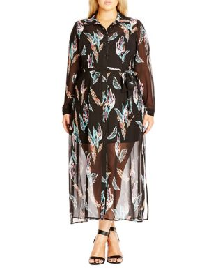 Plus Longline Lady Printed Shirtdress by City Chic