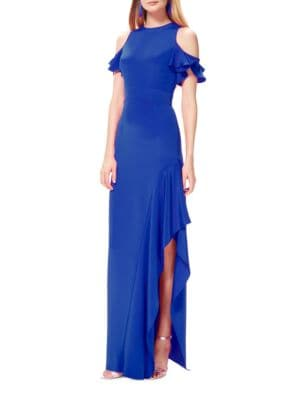 Cold-Shoulder Ruffled Gown by Theia