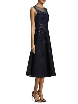 Sequined Applique Lace Dress by Teri Jon