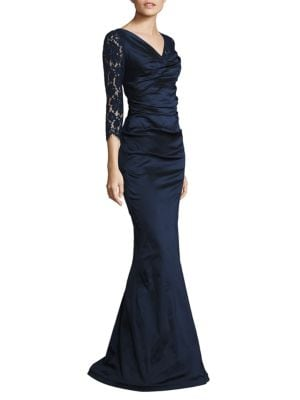 Ruched Lace Gown by Teri Jon