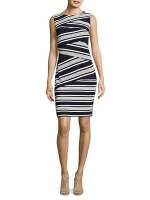 Striped Colorblocked Sheath Dress by Adrianna Papell
