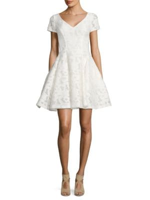 Solid Fit-&-Flare Lace Dress by Nue By Shani