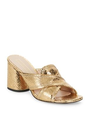 Embossed Metallic Leather Sandals by Marc Jacobs