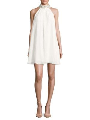 Embellished High-Neck Sleeveless Trapeze Dress by Belle Badgley Mischka