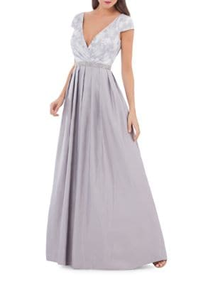 Jacquard Pleated Gown by Js Collections