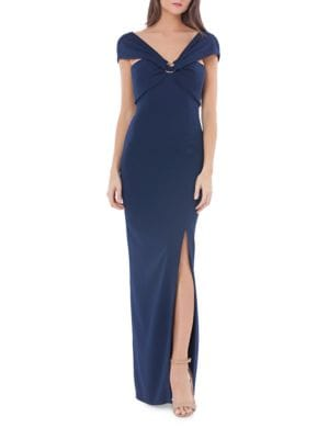 Drape-Front Slim-Fit Gown by Js Collections