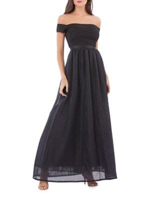 Pleated Off-The-Shoulder Gown by Js Collections
