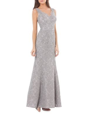 V-Neck Lace Gown by Vera Wang